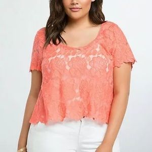 Torrid Embroidered Lace Coral Crop Top